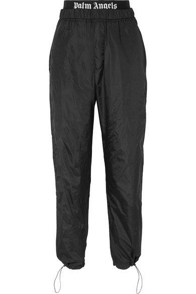 Palm Angels INTARSIA-TRIMMED SHELL TRACK PANTS