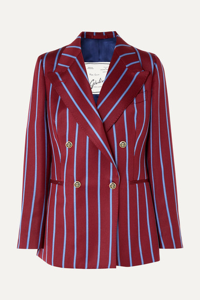 GIULIVA HERITAGE COLLECTION | Giuliva Heritage Collection - Stella Double-breasted Striped Wool Blazer - Merlot | Goxip