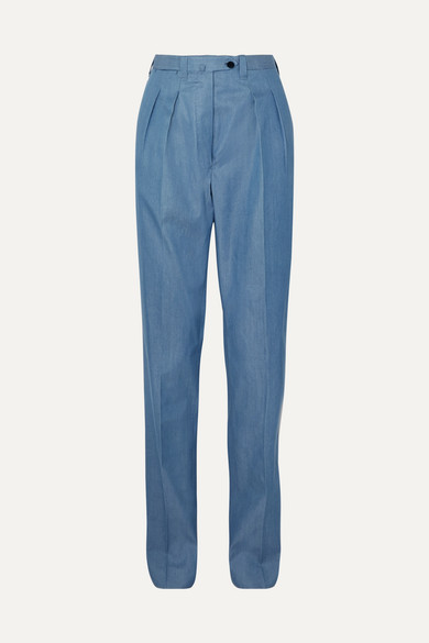 GIULIVA HERITAGE COLLECTION   Giuliva Heritage Collection - Husband Cotton-chambray Straight-leg Pants - Blue   Goxip