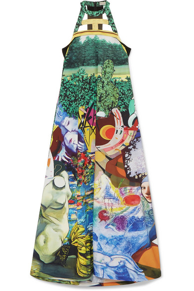 Mary Katrantzou PRINTED CUTOUT CREPE MAXI DRESS