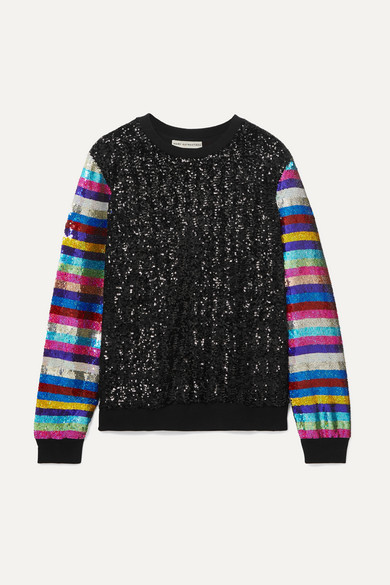 Mary Katrantzou T-shirts Striped sequined jersey sweatshirt