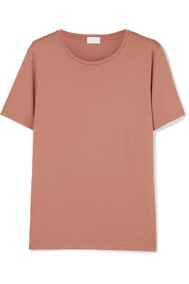 HANDVAERK Stretch-Pima Cotton Jersey T-Shirt in Pink