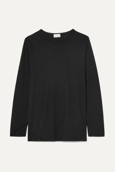 HANDVAERK Pima Cotton-Jersey Top in Black