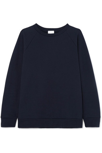 HANDVAERK Raglan Cotton-Terry Sweatshirt in Navy
