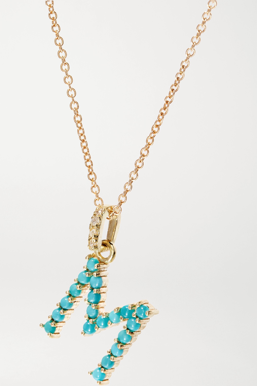 Jennifer Meyer Letter Kette aus 18 Karat Gold mit Türkisen und Diamanten