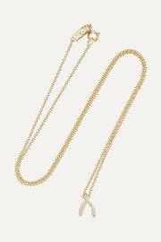 Wishbone 18-karat gold diamond necklace