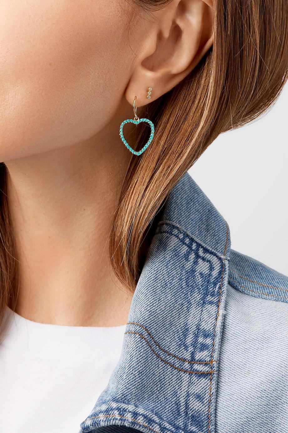 Jennifer Meyer Heart 18K 黄金绿松石耳环