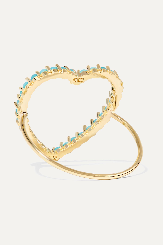 Jennifer Meyer Open Heart 18-karat gold turquoise ring