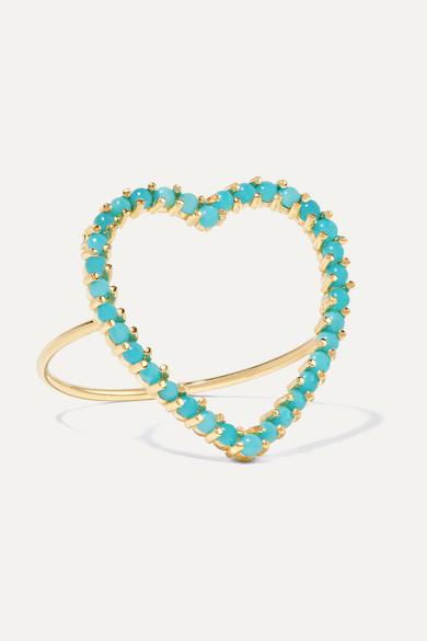 Open Heart 18-Karat Gold Turquoise Ring