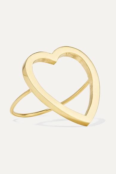 Open Heart 18-Karat Gold Ring