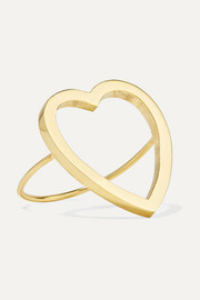 Open Heart 18-karat gold ring