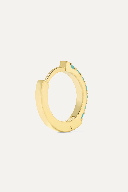 Jennifer Meyer Huggy 18-karat gold turquoise hoop earrings
