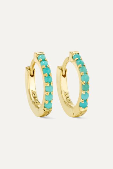 Huggy 18 Karat Gold Turquoise Hoop Earrings
