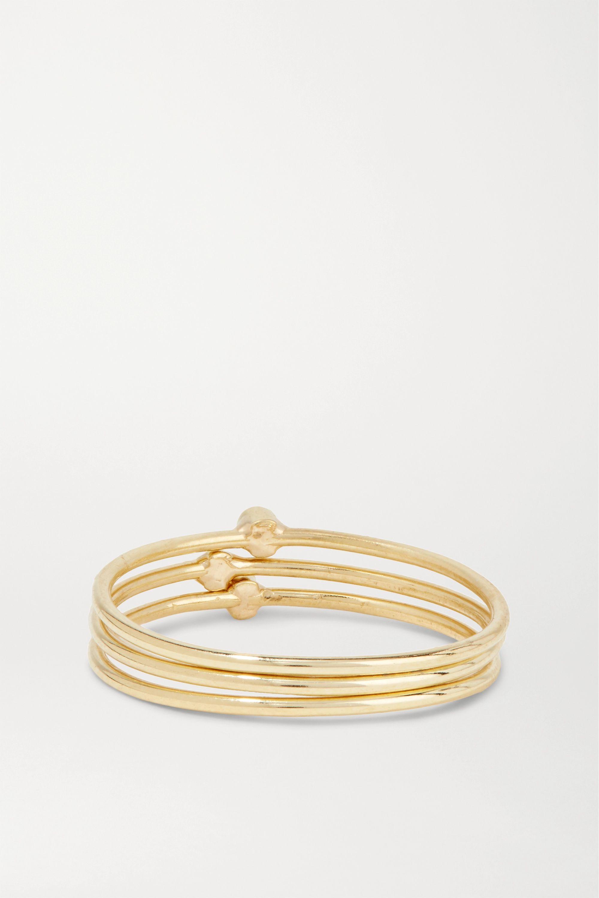 Jennifer Meyer Set of three 18-karat gold diamond rings