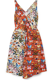 Butterly Flip wrap-effect printed twill dress
