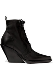 Lace-up leather wedge ankle boots
