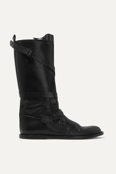 Buckled Leather Knee Boots by Ann Demeulemeester