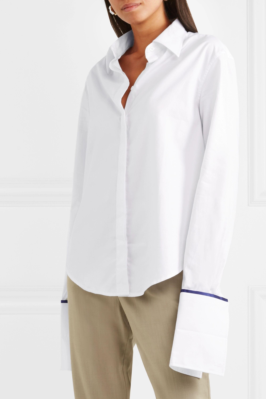ANNA QUAN Anne silk satin-trimmed cotton-twill shirt