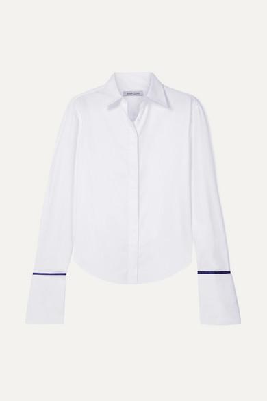 ANNA QUAN Anne Silk Satin-Trimmed Cotton-Twill Shirt in White