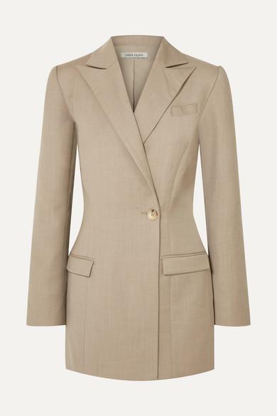 ANNA QUAN Sienna Wool And Cashmere-Blend Blazer in Beige