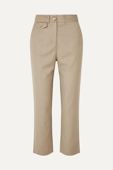 ANNA QUAN Roxy Cropped Wool-Blend Straight-Leg Pants in Beige