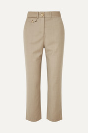 Roxy cropped wool-blend straight-leg pants