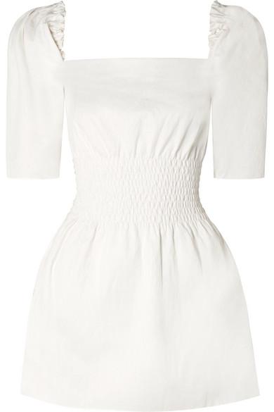 ANNA QUAN Terri Shirred Stretch-Cotton Mini Dress in White