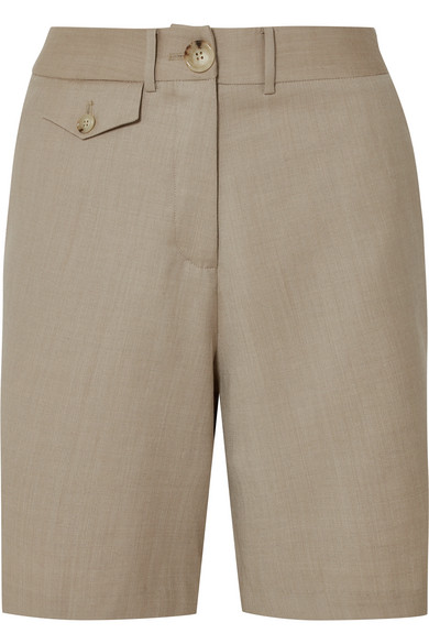 ANNA QUAN Patsy Wool-Blend Shorts in Beige