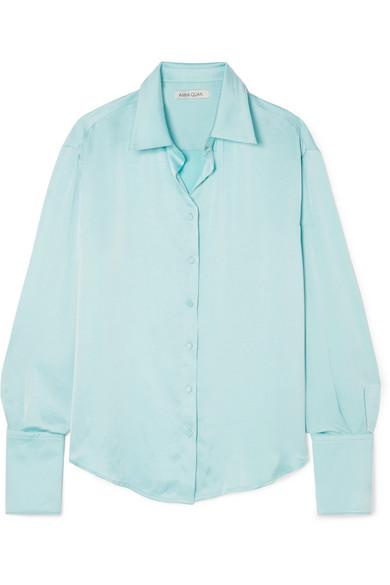 ANNA QUAN Lana Satin Shirt in Light Blue