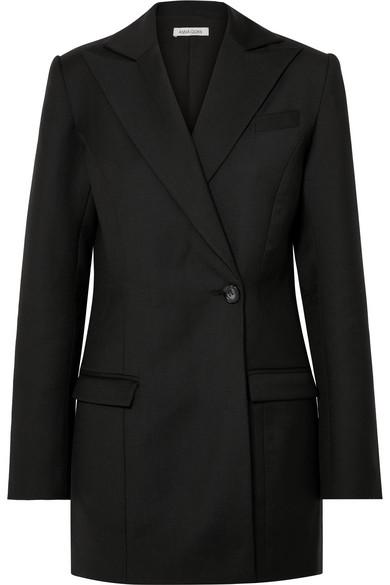 ANNA QUAN Sienna Wool-Piqué Blazer in Black