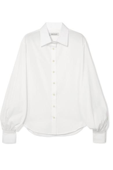 ANNA QUAN Castiglia Cotton-Poplin Shirt in White