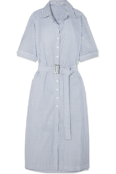 ANNA QUAN Zola Belted Striped Cotton Midi Dress in Navy