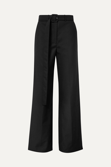 ANNA QUAN Tammy Wool Wide-Leg Pants in Black