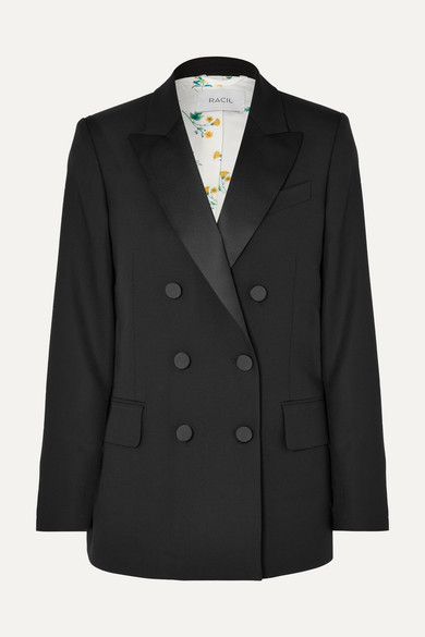 Racil CASABLANCA DOUBLE-BREASTED SATIN-TRIMMED WOOL BLAZER