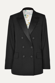 Casablanca double-breasted satin-trimmed wool blazer