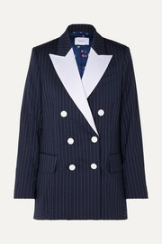Racil Casablanca double-breasted satin-trimmed striped wool-blend crepe blazer