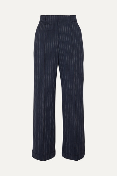 Racil CHARLIE PINSTRIPED STRETCH-WOOL WIDE-LEG PANTS