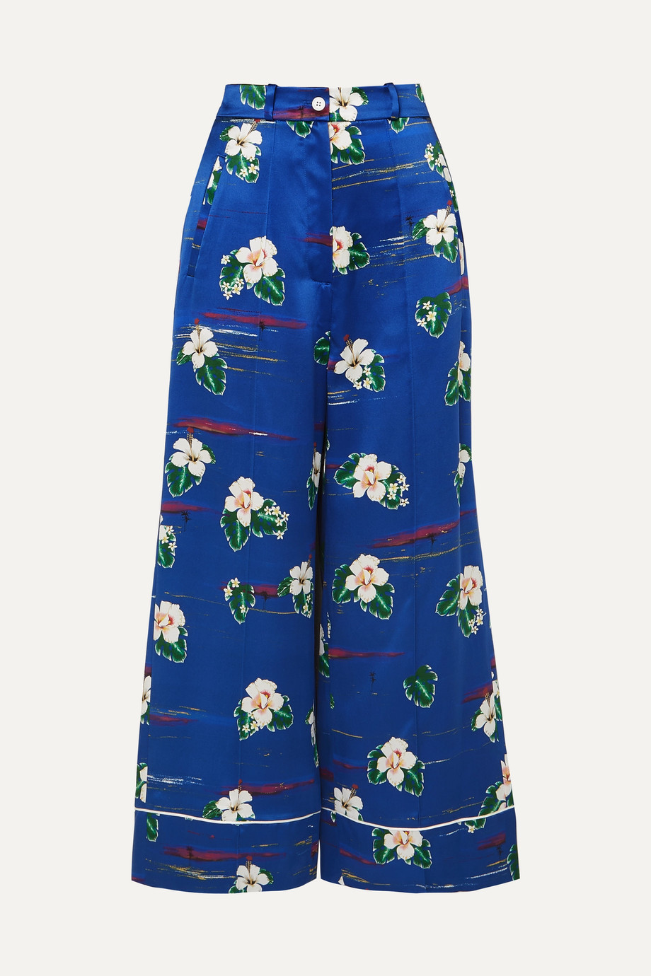 Racil Desert 花卉印花丝缎九分阔腿裤