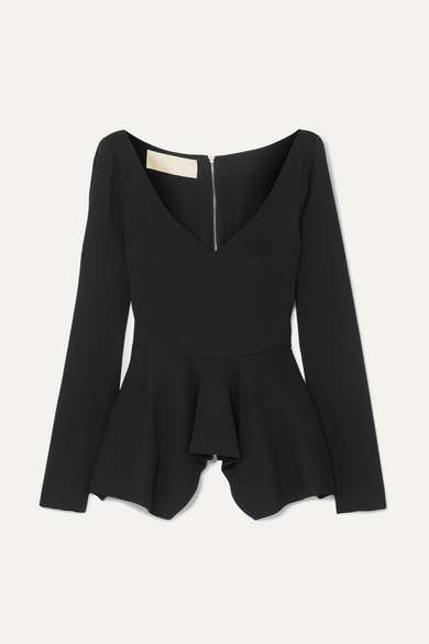 ANTONIO BERARDI | Antonio Berardi - Stretch-cady Peplum Top - Black | Goxip