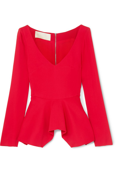ANTONIO BERARDI | Antonio Berardi - Stretch-cady Peplum Top - Red | Goxip
