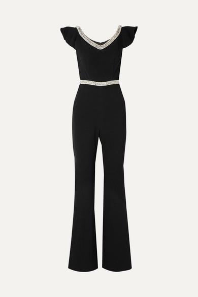 Reeda Off The Shoulder Embellished Crepe Jumpsuit by Rachel Zoe