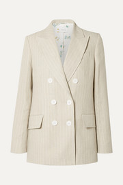Casablanca double-breasted pinstriped linen blazer