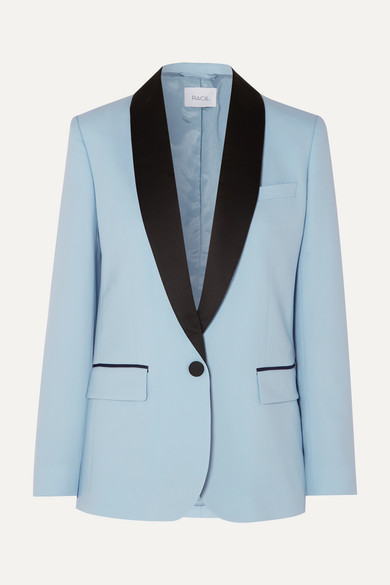 Satin Trim Wool Suit
