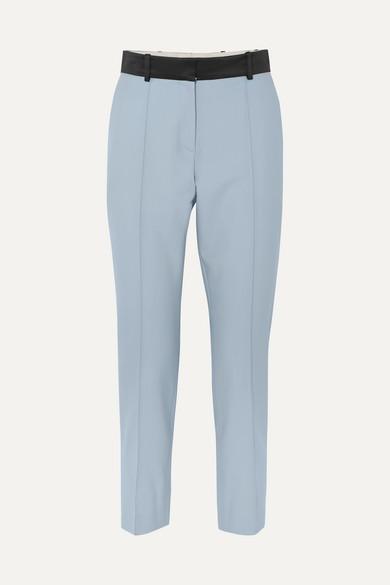 Racil Pants PALM BEACH SATIN-TRIMMED WOOL SLIM-LEG PANTS