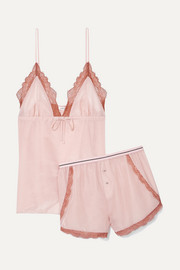 Lotty and Matt lace-trimmed cotton and silk-blend pajama set