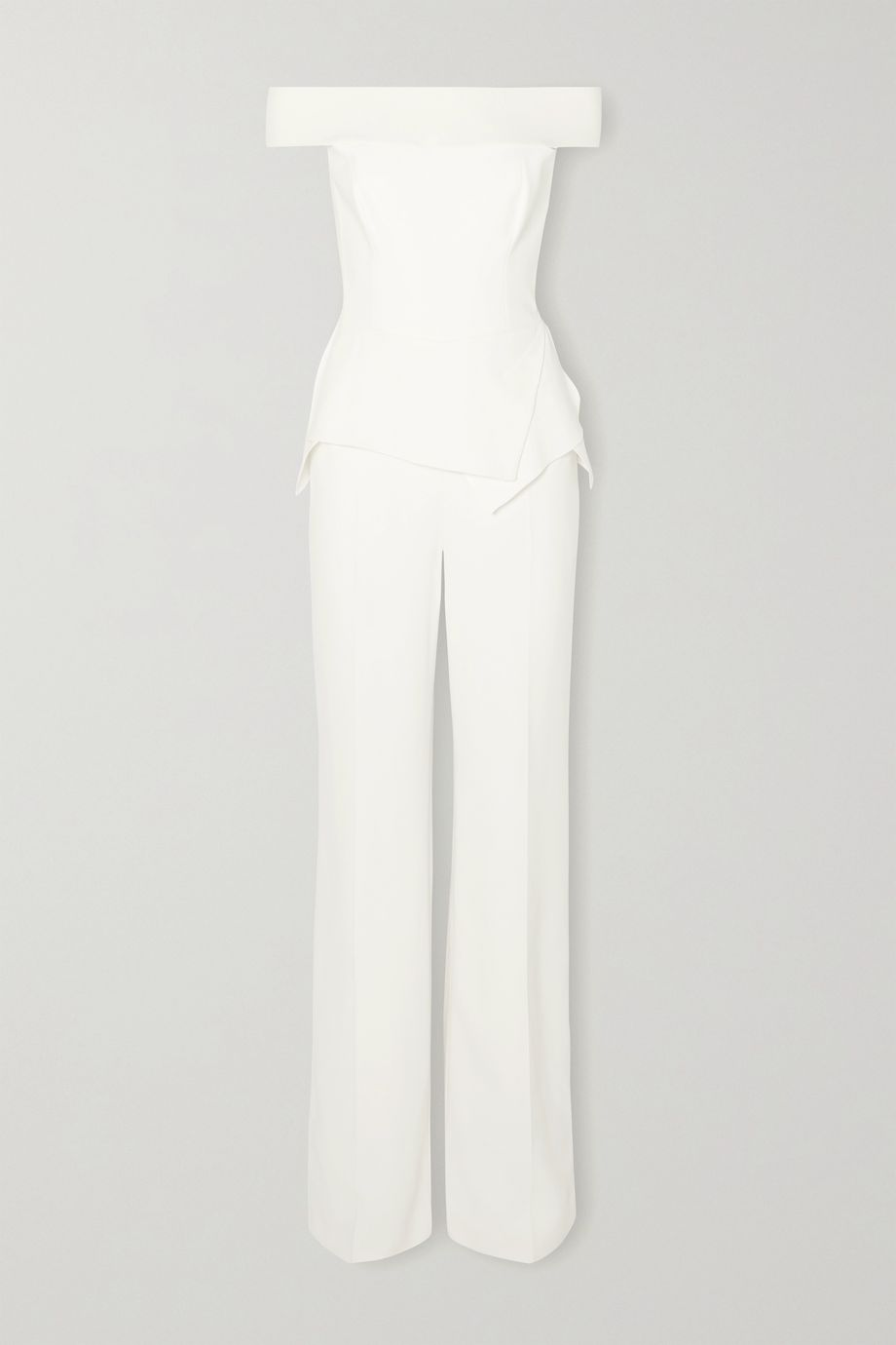 Roland Mouret Danielson off-the-shoulder crepe peplum jumpsuit