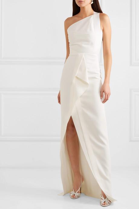 Lilyvick one-shoulder grosgrain-trimmed draped crepe gown