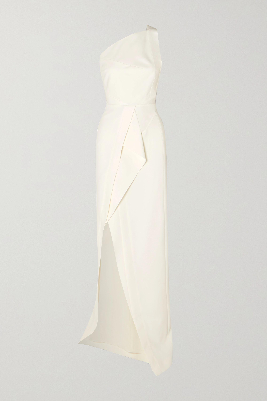 Roland Mouret Lilyvick one-shoulder grosgrain-trimmed draped crepe gown