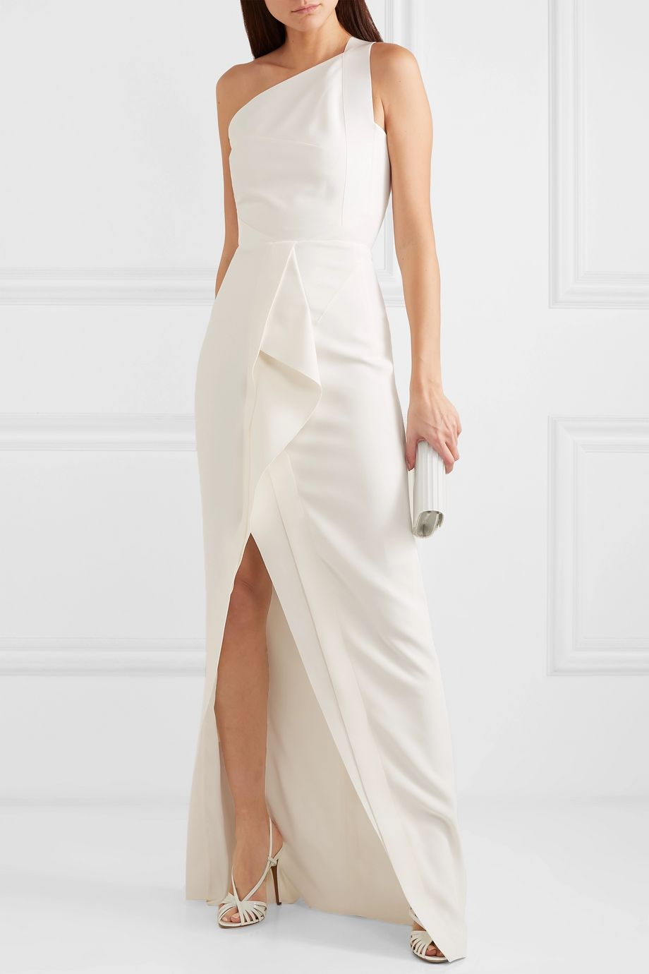 Roland Mouret Lilyvick one-shoulder grosgrain-trimmed draped crepe gown