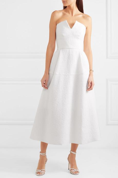 Aldrich strapless frayed cloqué midi dress